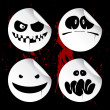 Monster smileys, halloween stickers. — Stockvectorbeeld