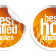 Best hot chicken stickers. - Stock Vector