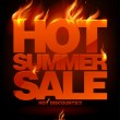 Fiery hot summer sale design. — Stock vektor