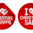 Christmas shopping stickers. - Stockvectorbeeld