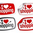Stock Vector: I love shopping stickers.