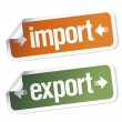 Import and export stickers — Vector de stock #14211315