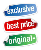 Stickers for exclusive sales under the best price — Stock Vector