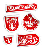 Falling Prices stickers. — Stock Vector