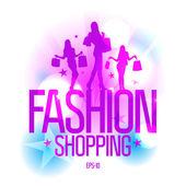 时装与时尚女孩购物设计模板. — 图库矢量图片