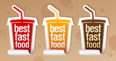 Best fast food stickers. — Stock Vector