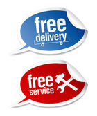 Free delivery, free service stickers. — Stock Vector