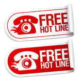 Free Hot Line stickers. — Stock Vector