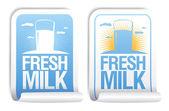 αυτοκόλλητα φρέσκο γάλα. — Διανυσματικό Αρχείο