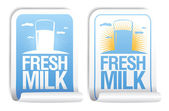 Verse melk stickers. — Stockvector