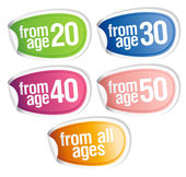 Age warning stickers. — Stock Vector