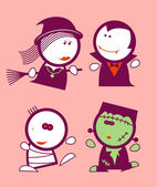 Halloween funny peoples. — Stock Vector