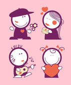 Valentine funny peoples. — Stock Vector