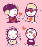 Valentine funny peoples. — 图库矢量图片