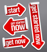 Get started now stickers. — Vettoriale Stock