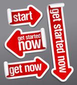 Získejte začal nyní samolepky. — Stock vektor