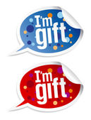 I am gift stickers set. — Stock Vector