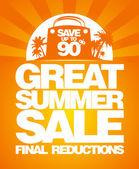 Laatste zomer verkoop ontwerpsjabloon. — Stockvector
