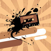 Design template with cassette tape. — Stock Vector