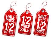 Etichette promozionali vendita. — Vettoriale Stock