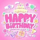 Gelukkige verjaardag roze kaart. — Stockvector