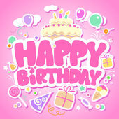 Grattis på födelsedagen rosa kort. — Stockvektor