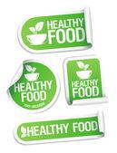 Etiquetas engomadas de la comida sana. — Vector de stock