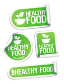 Healthy Food stickers. — Vector de stock