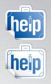 Help stickers set. — Stock Vector