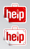 Helpen stickers instellen. — Stockvector