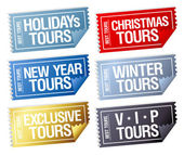 Holidays tours stickers in form of tickets. — Stock Vector