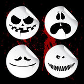 Monster smileys, halloween stickers. — Stock Vector