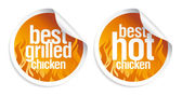 Best hot chicken stickers. — Stock Vector