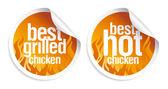 Best hot chicken stickers. — Stock Vector