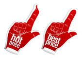Hot best price stickers — Stock Vector