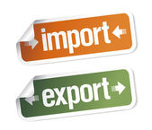 Import and export stickers — Vector de stock
