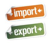Importación y exportación de etiquetas engomadas — Vector de stock