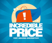 Incredible price, sale design template. — Vector de stock