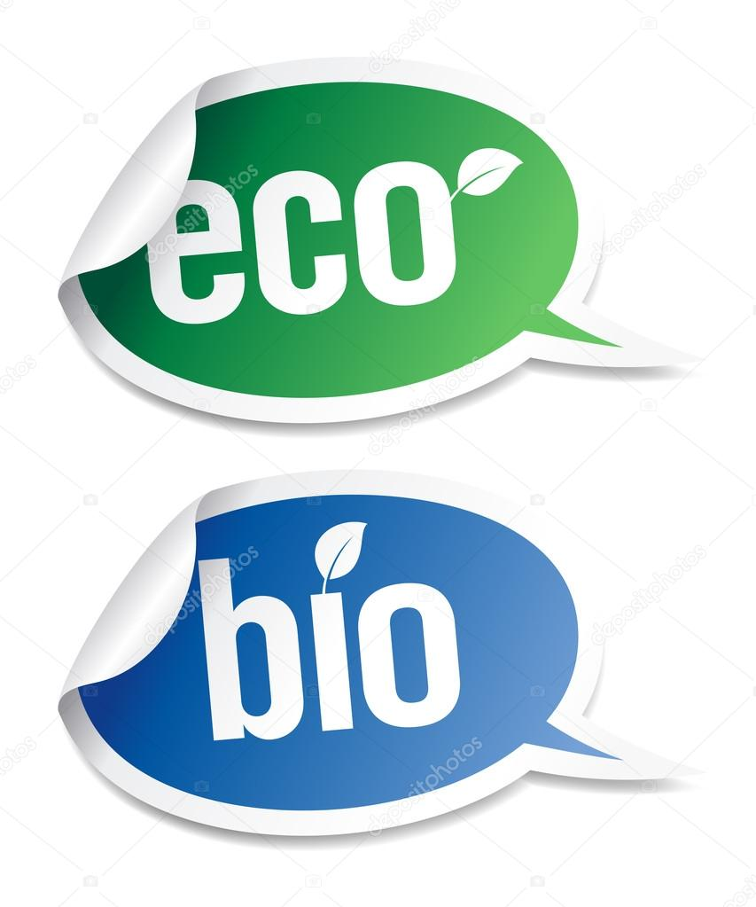 Set of natural bio product stickers in form of speech bubbles.   Stock Vector #14210748
