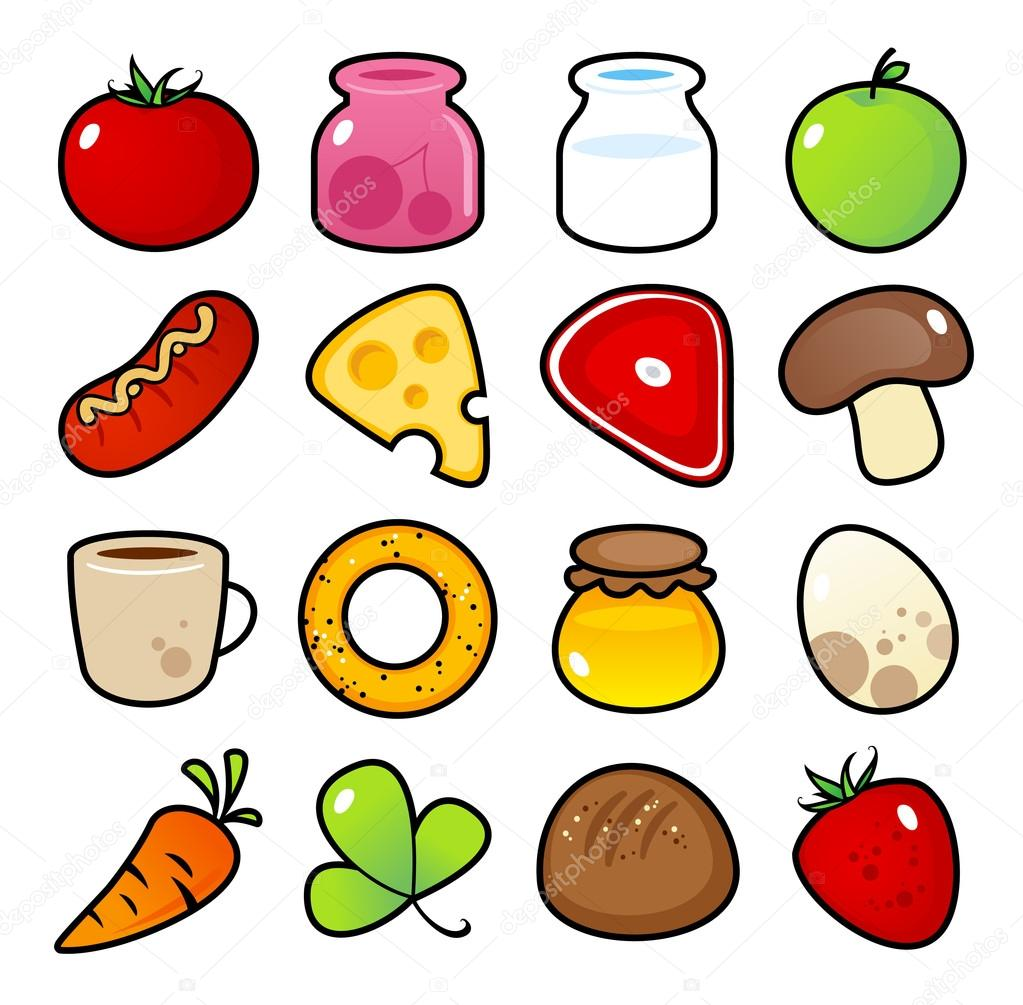 Colorful icons with food meals isolated. — Stock Vector #14210831