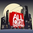 All night shopping design. - Stok Vektör