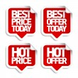 Stock Vector: Best hot offers speech bubbles.