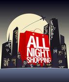 Toda a noite compras design. — Vetorial Stock