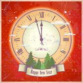 Retro New Year card. — Stock Vector