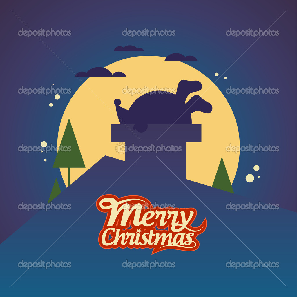 Christmas card with Santa Claus stuck in a chimney. — Stock Vector #15740317