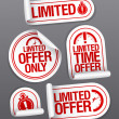 Limited offer sale stickers. — Vector de stock
