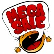 Mega Sale screaming girl. — Stock Vector