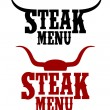 Stock Vector: Steak menu signs.