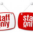 Staff only signs. — Stock Vector
