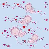 Bakgrund med cupids och hjärtan — Stockvektor